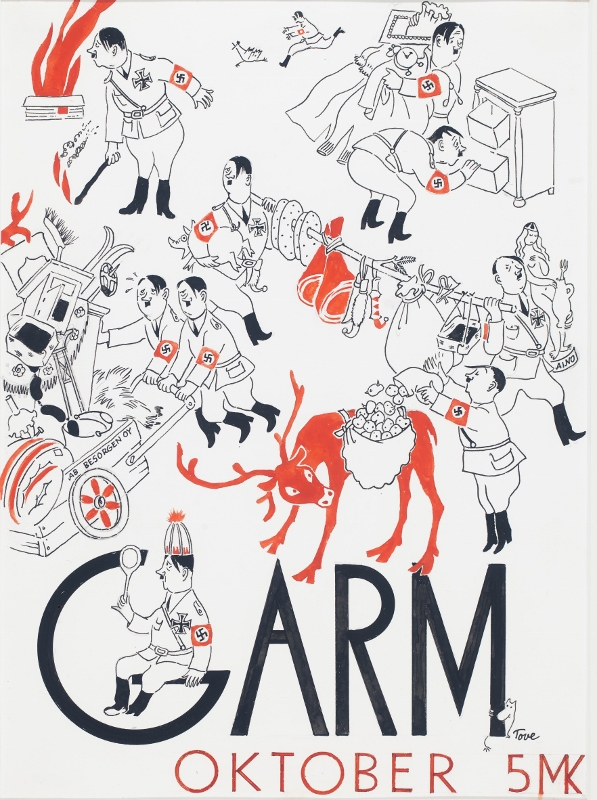 Satirical images of Hitler on cover of Garm magazine, designed by Tove Jansson
