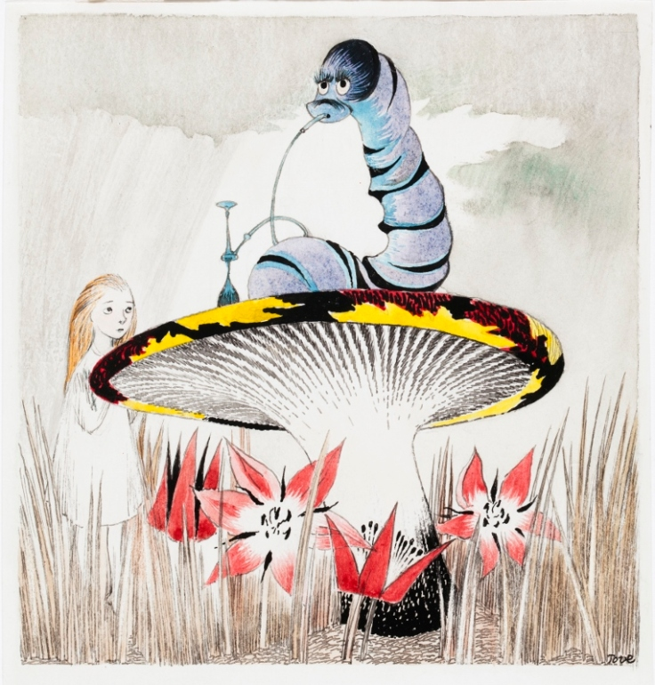 Alice in Wonderland with the Caterpillar, illustrated by Tove Jansson