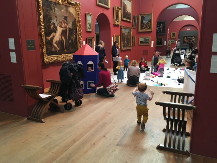 Children and parents enjoying arts activities at Dulwich Picture Gallery