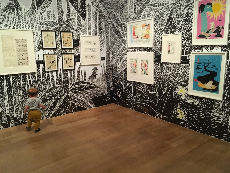 Baby exploring Tove Jansson exhibition at Dulwich Picture Gallery