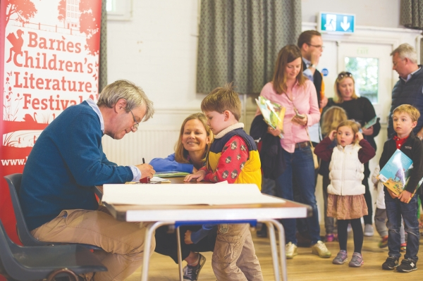 Axel Scheffler signing books at Barnes Children's Literature Festival