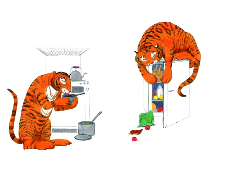 The Tiger Who Came To Tea original artwork from 1968. Copyright: Kerr-Kneale Productions Ltd